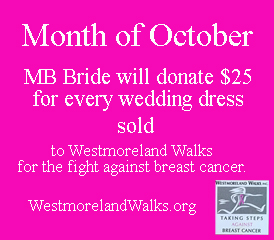 MB Bride donation to Westmoreland Walks to fight breast cancer