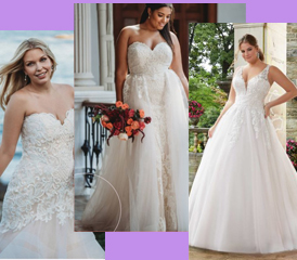 Three plus size women wearing plus size wedding dresses