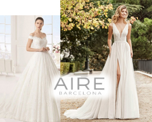 Two women wearing Aire Barcelona Gowns promoting MB Bride Trunk Show