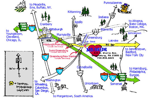 Map to Bridal Store Pa