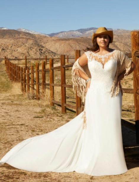 This style is in Plus Size in our store for you to try on! Women modeling MB Bride SKU 73014