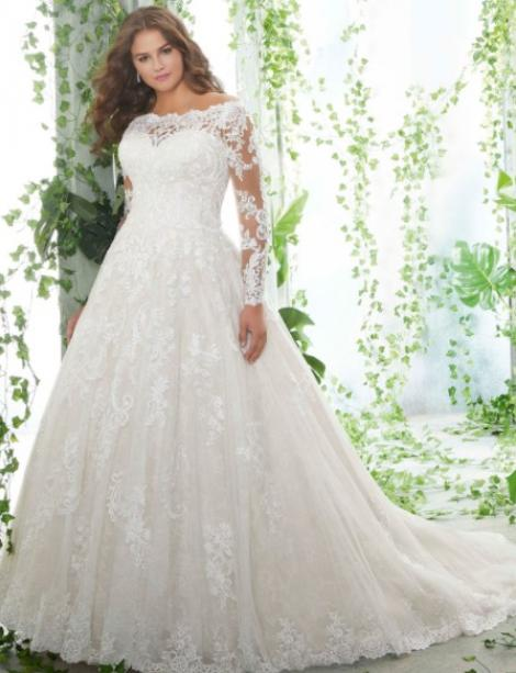 This style is in Plus Size in our store for you to try on! Women modeling MB Bride SKU 73016
