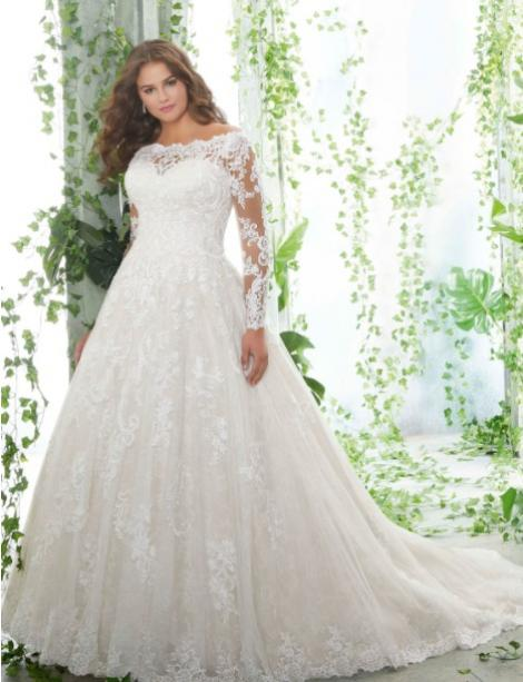 This style is in Plus Size in our store for you to try on! Women modeling MB Bride SKU 73451
