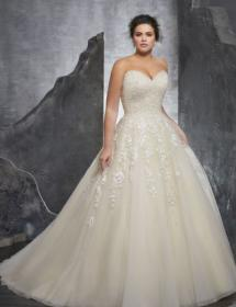 This style is in Plus Size in our store for you to try on! Women modeling MB Bride SKU 73390