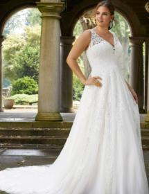 This style is in Plus Size in our store for you to try on! Women modeling MB Bride SKU 73395