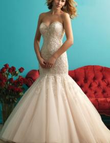 This style is in Plus Size in our store for you to try on! Women modeling MB Bride SKU 74141