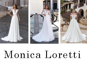 Three women modeling Monica Loretti gowns for MB Bride Trunk Show
